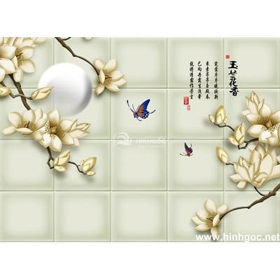 Tranh trang trí cành hoa sen trắng-BJ-098