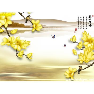 Tranh trang trí cành hoa trắng-BJ-119