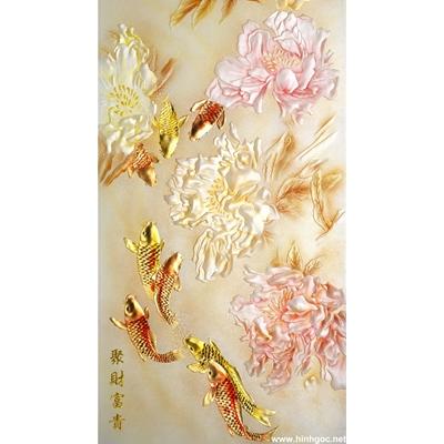 Tranh trang trí cành hoa sen trắng-BJ-121