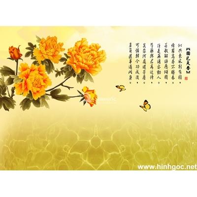 Tranh trang trí cành hoa cúc vàng-BJ-123