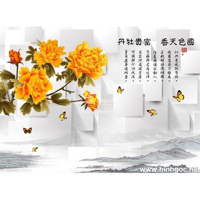 Tranh trang trí cành hoa cúc vàng-BJ-124
