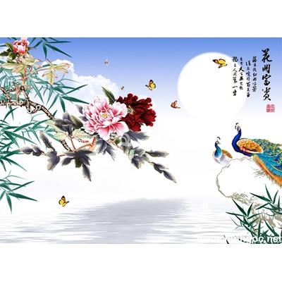 Tranh trang trí hoa mẫu đơn và chim công-BJ-133
