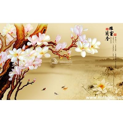 Tranh trang trí cành hoa trắng-BJ-171