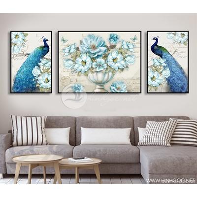 Tranh bộ đôi chim hỷ tước bên hoa - CEN76