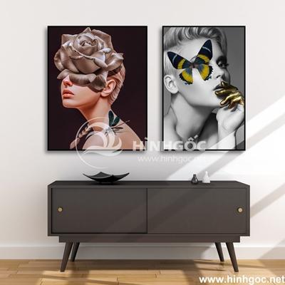 Tranh chân dung cô gái và hoa-COF-107