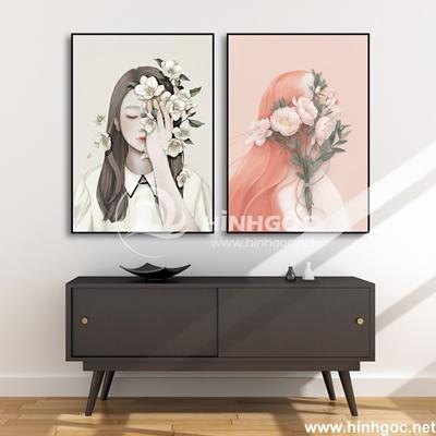 Bộ 2 tranh chân dung cô gái và hoa-COF-13
