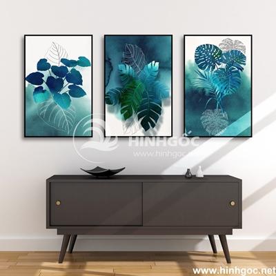 Tranh bộ 3 bức lá rùa màu xanh-COF-137