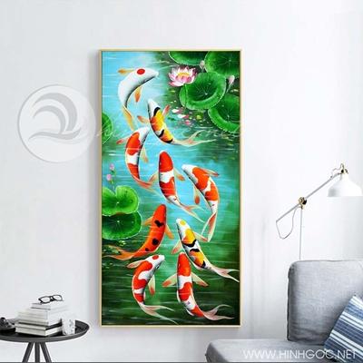 Tranh cửu ngư quần hội cá chép và hoa sen-COF-212