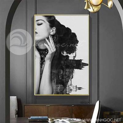 Tranh chân dung cô gái và cây tháp cổ-COF-221