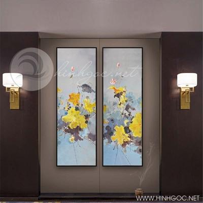 Tranh bộ 2 bức cá chép và hoa sen vàng-COF-242