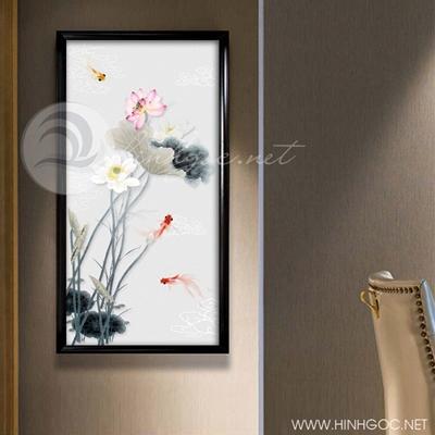 Tranh cá chép hoa sen-COF-249