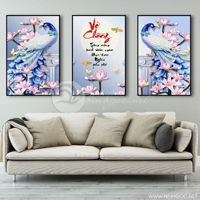 Tranh bộ 3 bức hoa và chim công-COF-325