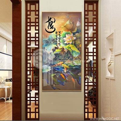 Tranh treo tường cá chép và hoa sen-COF-347