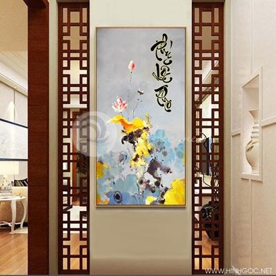 Tranh hoa sen hồng treo tường phúc-lộc-thọ-COF-348