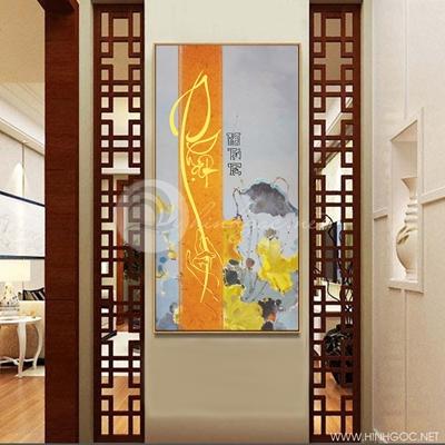 Tranh hoa sen vàng treo tường-COF-349