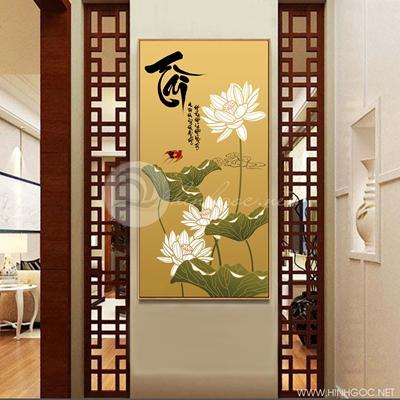 Tranh treo tường hoa sen trắng-COF-353