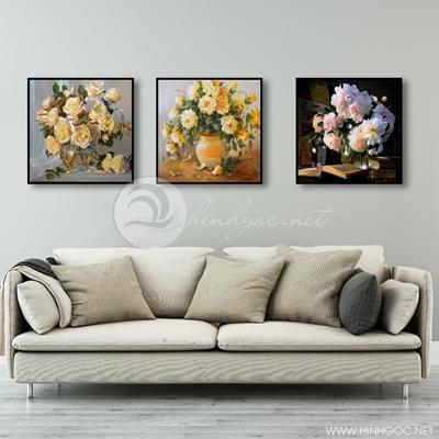 Tranh bộ 3 bức lọ hoa-COF-358