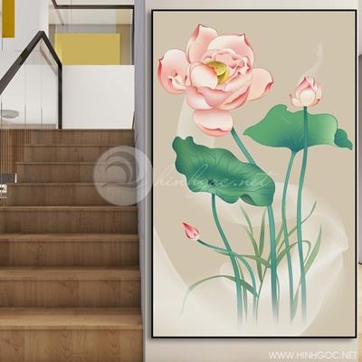 Tranh treo tường hoa sen hồng-COF-361