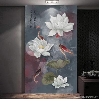 Tranh cá chép và hoa sen trắng-COF-382