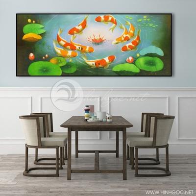 Tranh cửu ngư quần hội cá chép và hoa sen-COF-396