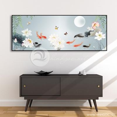 Tranh cửu ngư quần hội cá chép và hoa sen trắng-COF-398