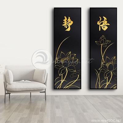 Tranh bộ 3 bức hoa sen và chữ vàng-COF-409