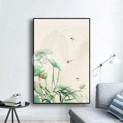 Tranh treo tường hoa sen và con chuồn chuồn-COF-417