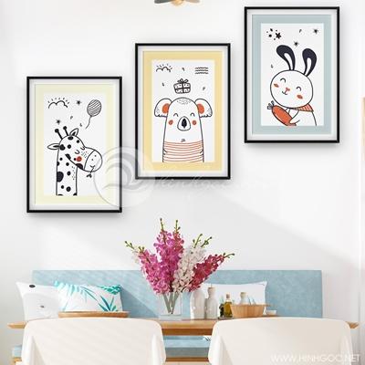 Tranh bộ 3 bức treo phòng ngủ con vật đẹp-COF-433