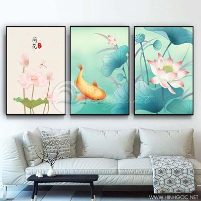 Tranh bộ 3 bức cá chép và hoa sen-COF-443