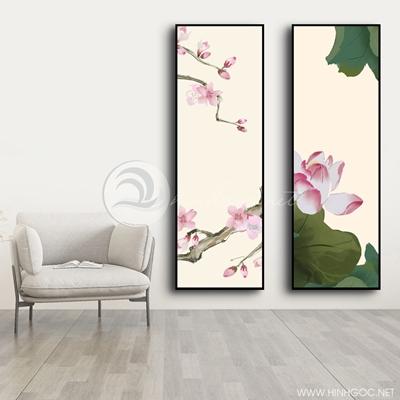 Tranh bộ 2 bức tranh hoa sen-COF-491