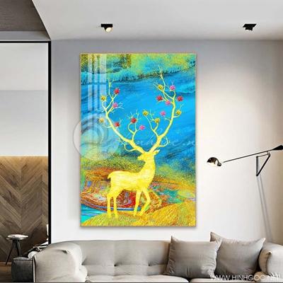 Tranh treo tường con hươu vàng trừu tượng-COF-498