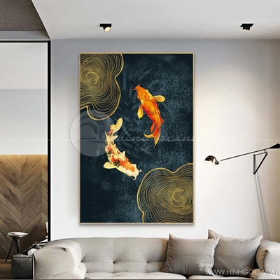 Tranh treo tường cá chép vàng và sóng vàng trừu tượng-COF-526