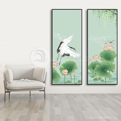 Tranh bộ 3 bức  hoa sen và chim-COF-577