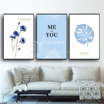 Tranh bộ 3 bức dụng hoa và lá xanh-COF-582