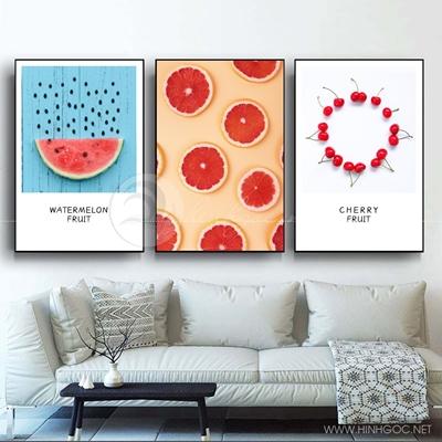 Tranh bộ 3 bức trang trí bếp hoa quả dưa hấu và cam-COF-598