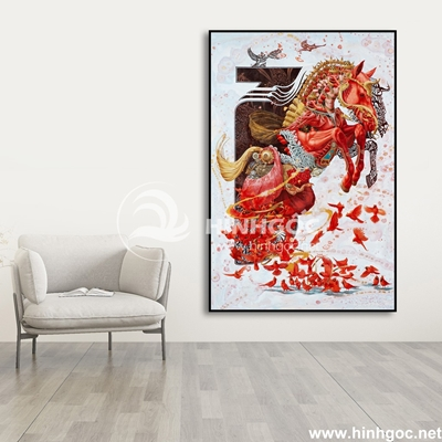 Tranh ngựa họa tiết sắc màu và đàn chim-COF-77