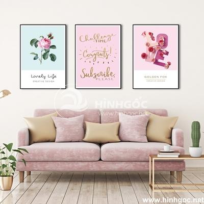 Tranh bộ 3 bức  hoa và chữ nghệ thuật-COF-82