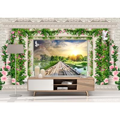 Dán tường 3D chiều sâu cổng hoa cây cầu - DEF-31