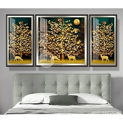 Tranh bộ cây lá vàng - DEN46