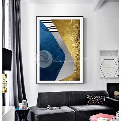 Tranh trừu tượng xanh xám vàng - DEN86
