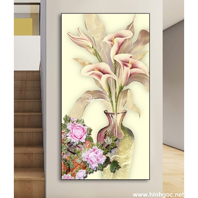 Tranh hoa sen trắng và đàn cá vàng-DLV-153