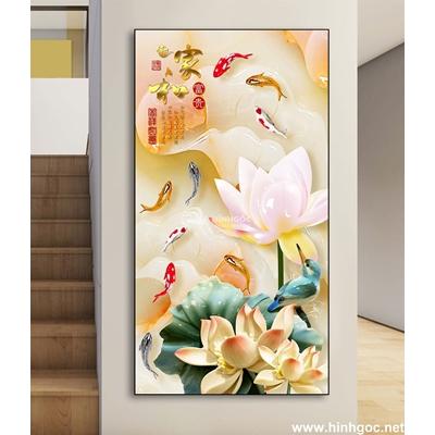 Tranh hoa sen và đàn cá -DLV-154