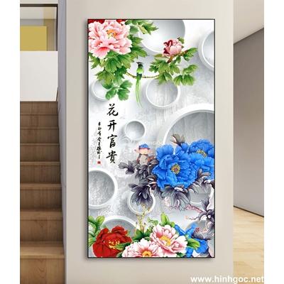 Tranh 3D cành hoa và bướm-DLV-166