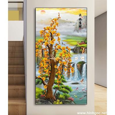 Tranh phong thủy đàn cá và cây vàng-DLV-195