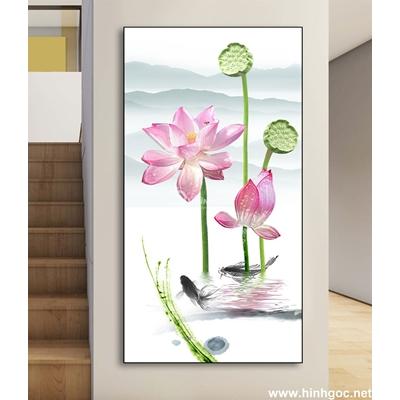 Tranh hoa sen và đàn cá-DLV-206