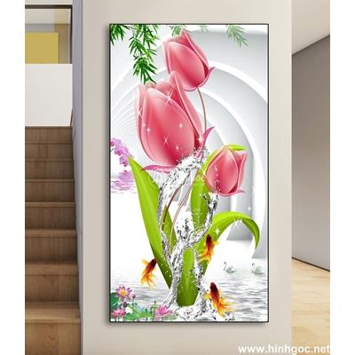 Tranh cành hoa và đàn cá-DLV-207