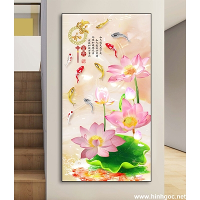Tranh hoa sen và đàn cá-DLV-211