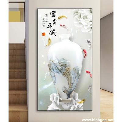 Tranh 3D bình hoa-DLV-219