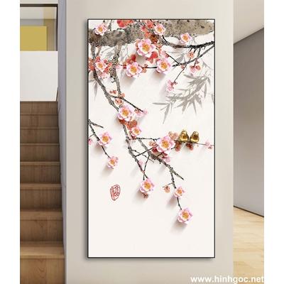 Tranh hoa cây đào nở-DLV-226