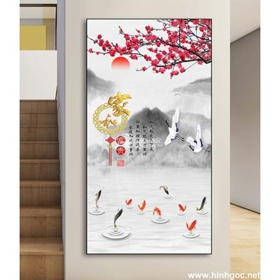 Mẫu poster hoa đào trên dãy núi-DLV-228